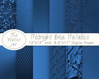 Midnight Blue Metallic digital papers and Deep Navy Blue Metallic Glitter, Dark Blue Metal Textures, Brushed metal, Blue foil,