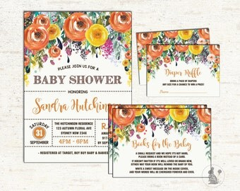 Autumn Baby Shower Invitation Package. 3-PIECE-SUITE. Fall Baby Shower. Thanksgiving Shower. Diaper Raffle. Books For Baby Insert Card. SUB7