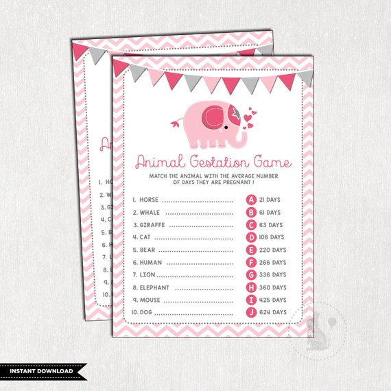Pink Elephant Baby Shower Game Little Peanut Animal Pregnancy Game