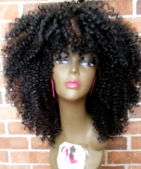 Crochet Hair Unit : CROCHET WIG Unit Synthetic Glueless Afro Curly Marley Hair Extensions ...