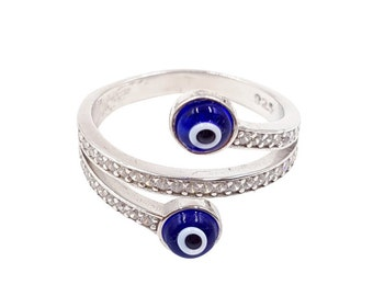 Crystal Wrap Around Sterling Silver Evil Eye Ring