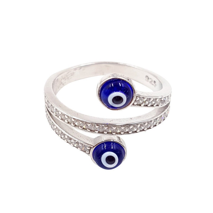 wrap around sterling silver evil eye ring