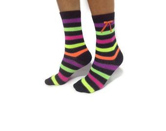 Neon Colorful Socks Stocking, Casual Cotton Women Socks, Leg Warmers, Boot Socks, Modern Sock Stocking Hosiery, Ankle Socks, Gift For Women