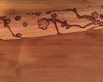 ROLLING PIN - tree branch and flowers,home&living,baking,bake,woodburned, wood burned, hand burned,mothers day gift