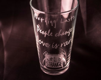 Life Is Strange Glass Etched Drinking Glass Etched Glassware