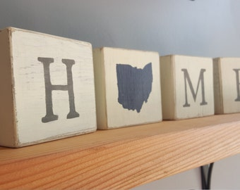 State HOME blocks, Ohio home decor, Ohio Sign, customizable, rustic Ohio, rustic state love, Rustic Decor