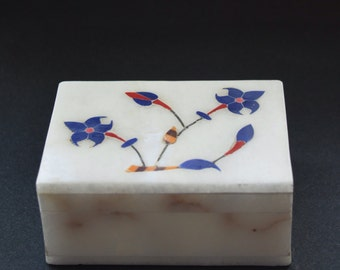 Marble jewelry box- marble trinket box- engagement ring box- Flower Inlay