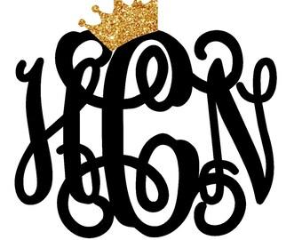 Crown Monogram Decal | Yeti Monogram | Yeti Cup | Car Decal | Laptop Decal | Glitter Monogram | Cup Decal |