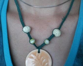 Green hemp fern necklace