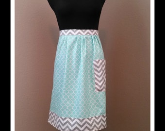 Turquoise and Grey Chevron Vintage Inspired Half Apron, hostess apron