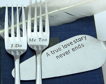 Сake Server and Forks Set, Personalized Wedding Forks and Cake Server, Wedding Forks, Wedding Gift, Personalized Forks