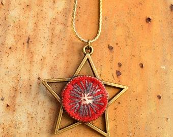 Star necklace, Bohemian Jewelry, Hippy jewelry, Original pendant, Felt necklace, Wool star, Handmade jewelry, Original pendant, Boho chic