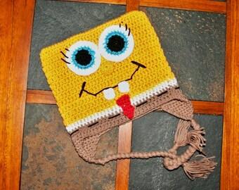 All Natural Handmade Spongebob Crochet Hat - All Sizes: 0-3 Months - Adult