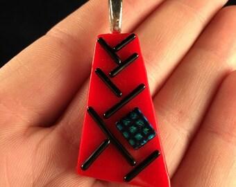 Red Dichroic Glass Pendant - J1007