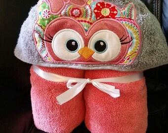Girl Owl Hooded Towel