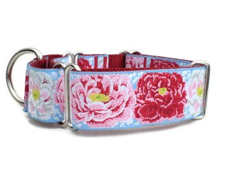 """martingale dog collar - pretty peony martingale collar - 1.5"""" wide large breed martingale pet collar - extra wide peonies training collar"""