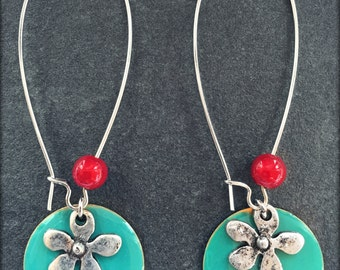 Earrings sequin and flower
