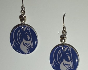 Duke Blue Devils earrings, Duke Blue Devils jewelry, Duke Blue Devils, school spirit jewelry