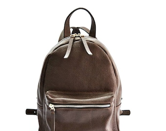 Brown leather backpack,  backpack   women, leather backpack purse, leather bag, leather rucksack, school backpack