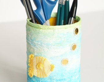 Large pot weighted pencils, decoration fish, blue and yellow, handmade, paper press