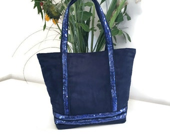 Blue sequined tote bag Navy suede
