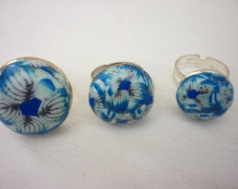 Blue white silvered  ring polymer clay