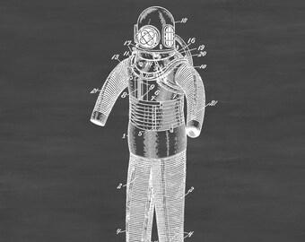 Diving Armor Patent 1893 - Patent Print, Wall Decor, Diver Gift, Scuba Gift, SCUBA Diver, Deep Sea Diver, Nautical Decor, Beach House Decor