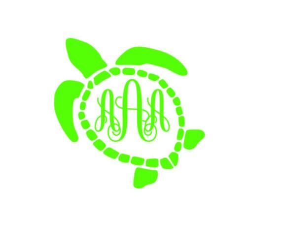 Sea turtle monogram decal by laurenscraftyco on etsy