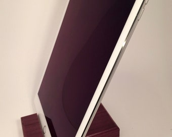 Wood iPad Stand - Purpleheart (tablet stand, docking, mens gift, tech gift)