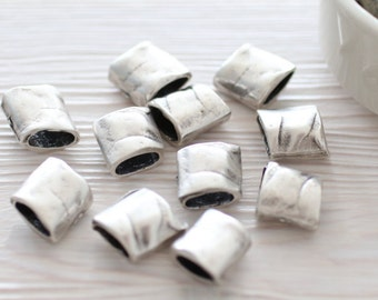 5pc antique silver rectangle beads, bracelet beads, silver spacers, silver beads, metal beads, tube beads, large hole beads, tribal beads