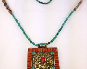 Fabulous Jasper, Jade & Carnelian Necklace with Beaded Brass Medallion!