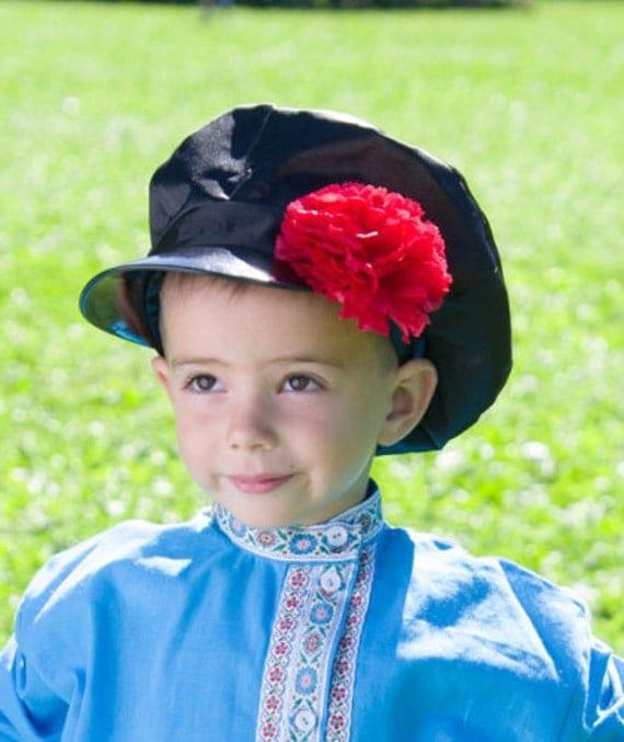 Russian traditional cap Kartuz, Flowered Kartus, Black cap, White cap, Russian men headwear, Russian hat for men