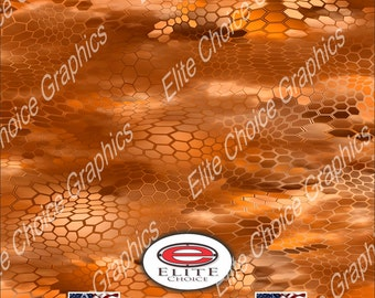 "Chameleon Hex 3 Orange 15""x52"" or 24""x52"" Truck/Pattern Print Tree Real Camouflage Sticker Roll or Sheet"