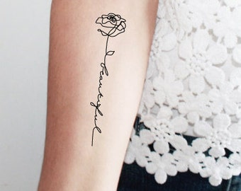 rose beautiful temporary tattoos / word temporary tattoo /rose temporary tattoo / calligraphy temporary tattoo / single line tattoo