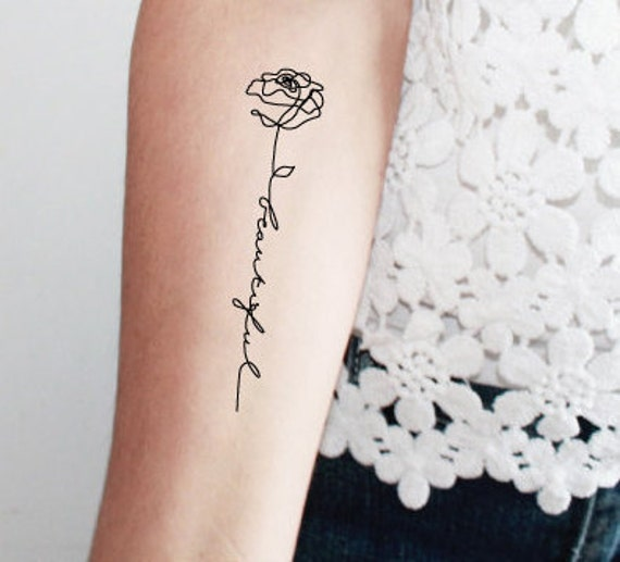 2 rose beautiful temporary tattoos / word temporary tattoo