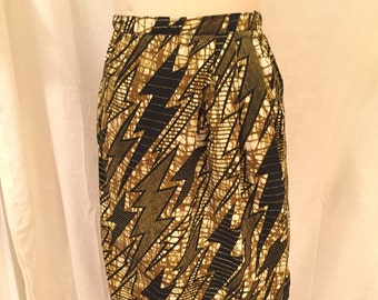 Batik Lightning Bolt Print Cotton Wrap Skirt