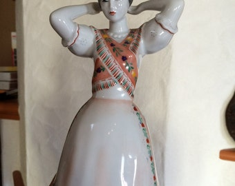 Tall Hungarian Folk Girl Hollohaza Porcelain Figurine