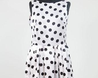 Satin Polka dot dress, Party Dress, cocktail dress, short dress, piege, skirt suits and dresses, Easter dress