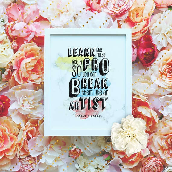 """Picasso Quote printable """"Break the rules"""" Artist printable poster, Marble Wall Art, Watercolor Print, Minimalist Modern print DIGITAL FILE"""
