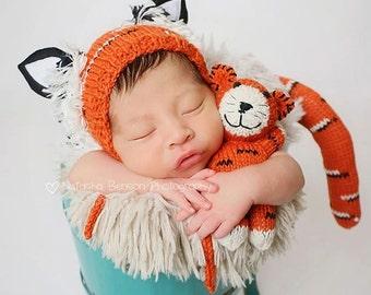 Tiger Newborn Props, Knit Hat, Tiger Hat, Newborn Prop Set, Newborn Stuffed Animal, Newborn Boy Props, Newborn Photography Prop