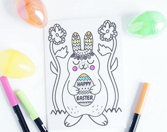Easter Card Printable Spring, Kids Easter Cards, Coloring Cards for Kids, Children's Easter Cards, Easter Coloring for Kids