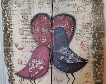 Two love birds on a branch, heart, pallet art, mixed media