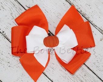 "Fall Hair Bow, Pumpkin Hair Bow, Fall Themed Bow, Thanksgiving Themed Hair Bow, Thanksgiving Pinwheel Bow, 4"" Hair Bow, 5"" Hair Bow"