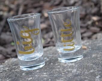 Set of Two, Big Little Shot Glasses, Sorority Glasses, Shot Glasses, Sorority Shot Glasses, Sorority Sister Gift, Big Little Gift, Sorority