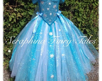 Blue Snowflake Tutu Dress - Lined Blue, White & Silver Glitter Winter Princess Gown - Ankle Length. Handmade by Seraphina Fairy Tales.