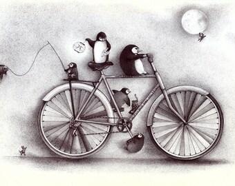 """Penguins on a Bike """" TRIBU LANGLO"""", Fine Art print from an original ballpen drawing"""