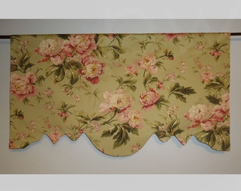 "Waverly Forever Yours Sage Pink Window Valance Curtain Scalloped Lined 40"" Wide"