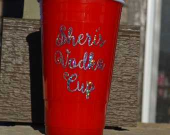 CLOSE OUT - Personalized Re-usable Party Cup with Lid - Customizable - Double Insulated - Re-usable - With lid - Solo Cup
