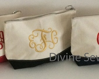 Personalized Cosmetic Bags. Monogrammed Makeup Bags. Monogrammed Mother's Day Gifts. Monogrammed Bridesmaid Gifts. Various Colors