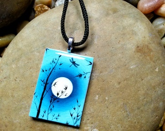 Handmade Necklace-Pendant-Fine Art Print-Bamboo-Silhouette-Moon-Dragonfly-Turquoise
